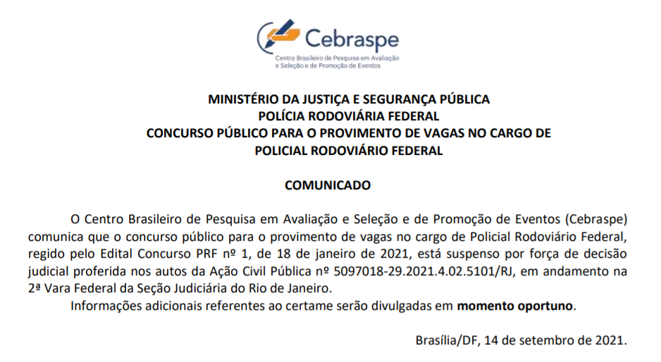 concurso PRF suspensão
