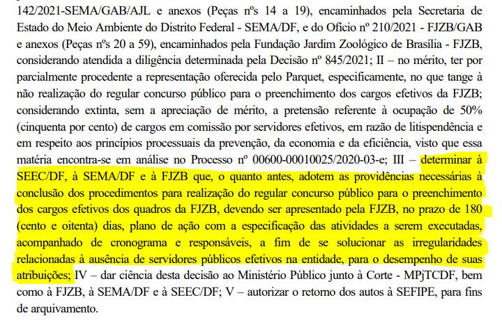prazo estipulado para novo cronograma do concurso da Fundação Jardim Zoológico de Brasília ser divulgado