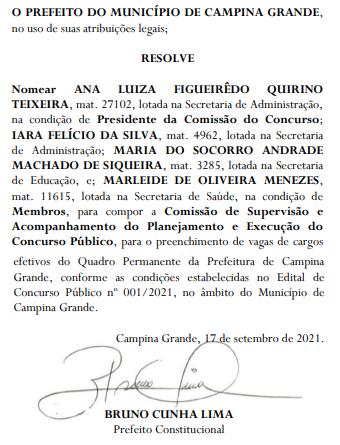 Comissão do concurso Campina Grande é FORMADA.
