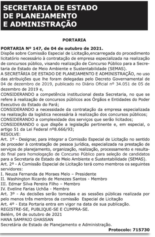 Concurso Semas PA: Comissão