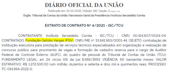 Extrato de Contrato - FGV - Concurso TCU